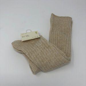 2/$15 Oatmeal & Gold Knee High Socks